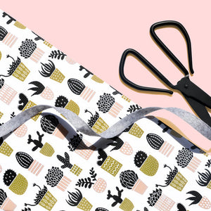 The Woods Hooray All Day Stationery modern mod wrapping paper sheet Mustard Blush Succulents Cactus