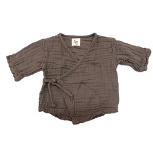 The Woods Nico Nico natural cotton gauze birch grey charcoal graphite black dyed Kea kimono baby wrap shirt