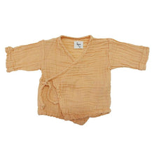 The Woods Nico Nico natural cotton gauze mandarin orange dyed Kea kimono baby wrap shirt