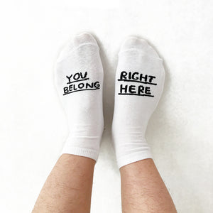 Shop The Woods People I've Loved Oakland printmaker print You Belong Right Here socks white black woman maker