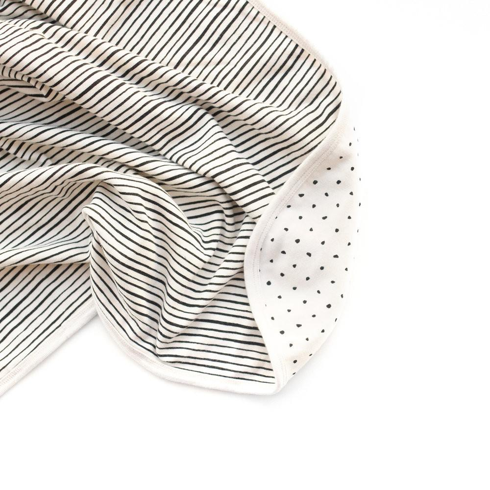 audrey and olive modern maternity clothes - petite soul reversible dot stripe baby blanket