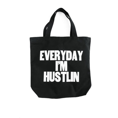 The Woods Paper Jam Press Everyday I'm Hustlin Rick Ross rap lyrics printed tote bag canvas black white