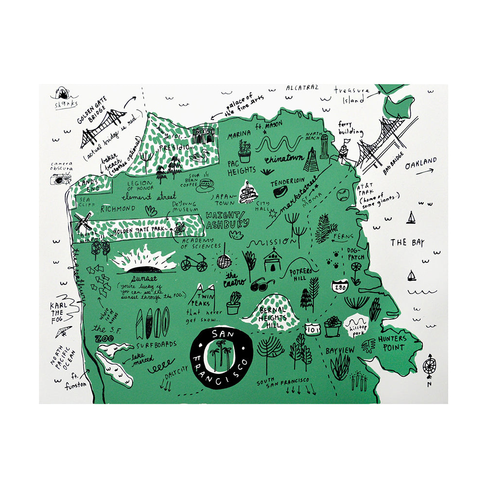 Shop The Woods People I've Loved Oakland printmaker San Francisco Map print woman maker