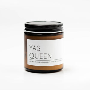 The Woods OKcollective candle co. soy natural cotton wick lead free Yas Queen