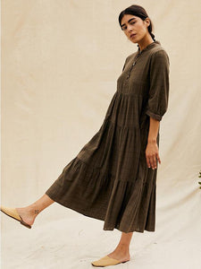 The Woods sugar candy mountain naomi dress terra verde brown khaki army green linen