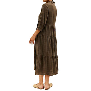 The Woods sugar candy mountain naomi dress terra verde brown khaki army green linen dress