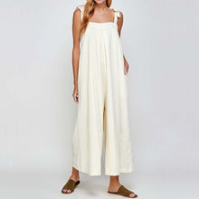 The Woods a mente sustainable natural strapped wide leg jumpsuit cream ivory white hemp