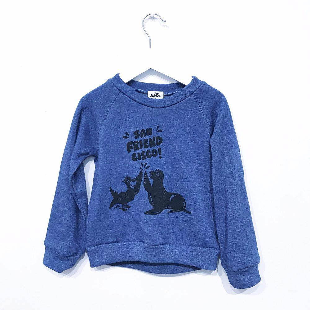 Kira kids san friendcisco seals royal blue sweatshirt baby babies audrey and olive maternity clothes shop the woods san francisco