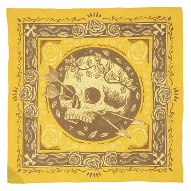 The Woods Bandit Bandanas free spirit organic illustrator artist sam dunn yellow gold orange skull