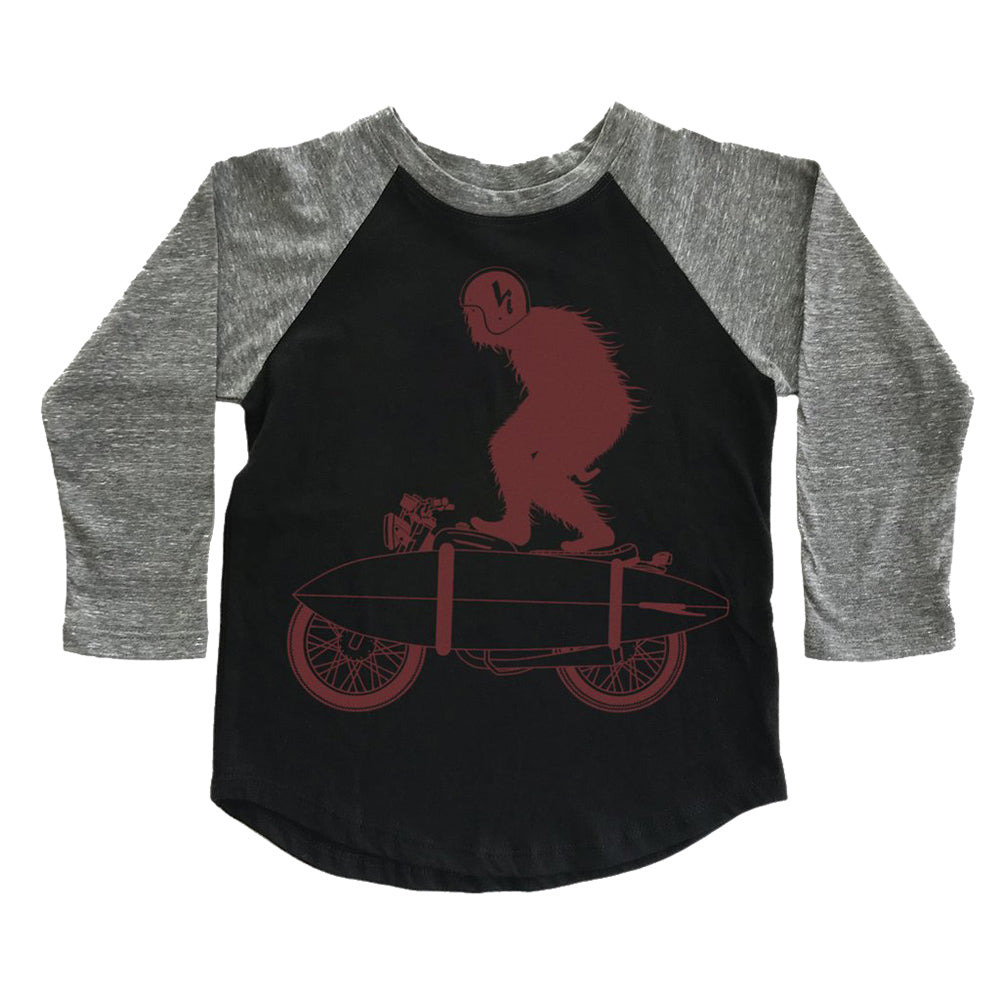 shop the woods tiny whales spirit animal surf board long sleeve raglan baseball t-shirt tee grey black kids children boys girls babies audrey and olive maternity