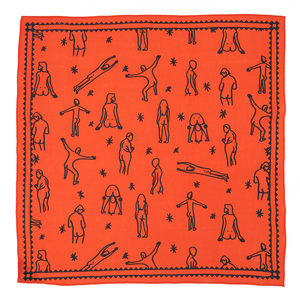 The Woods Bandits Bandanas organic gots cotton sustainable india fair trade sebastian Eisenberg artist illustrator summer butts orange red