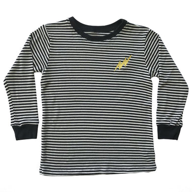 shop the woods tiny whales super charged lightning bolt long sleeve thermal waffle t-shirt tee white black stripe striped kids children boys girls babies audrey and olive maternity