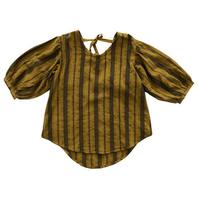 The Woods Nico Nico natural cotton dyed Theodora shirt blouse chartreuse stripe girls kids baby