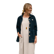 The Woods Mien Studios Painters task jacket women rich teal blue canvas