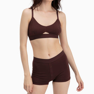 Shop The Woods Richer Poorer most comfortable classic cutout bralette bra lingerie intimates cotton racerback adjustable java brown burgundy
