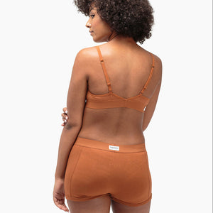 Shop The Woods Richer Poorer most comfortable lingerie intimates cotton femme womens boxer briefs underwear panties panty shorts tobacco brown orange