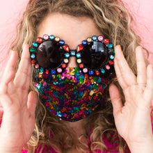 The woods fringe and co fringe+co. pizazz sequins mask coronavirus covid rainbow sequins pride