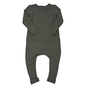 Baby kids stretch romper jumpsuit long sleeved onesie army military green khaki dudes-n-dolls audrey and olive shop the woods SF