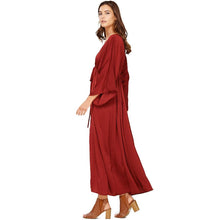 Audrey and Olive maternity aylen kaftan kimono open cardigan red