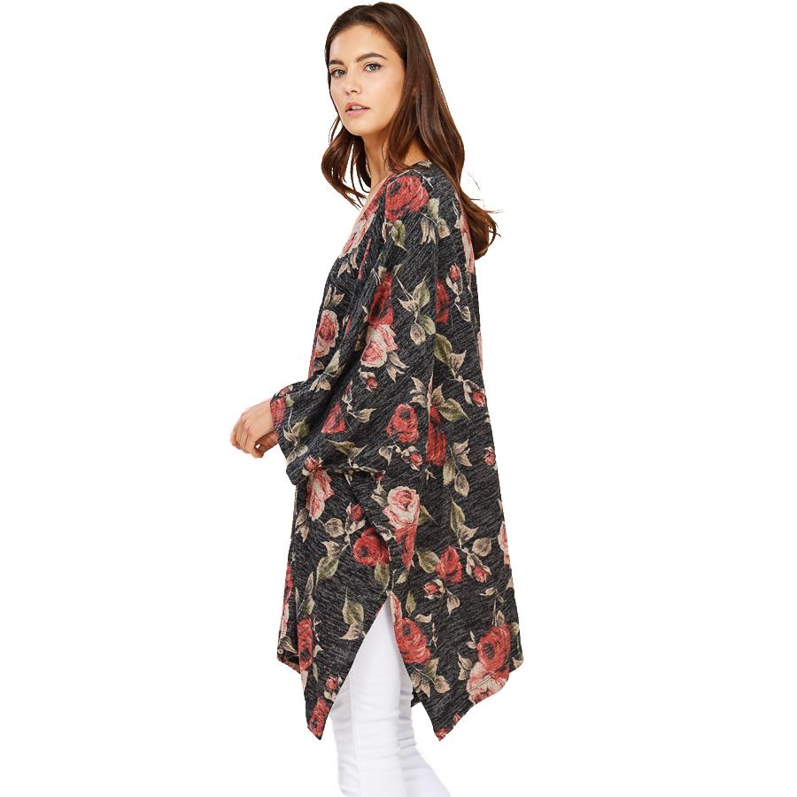 Audrey and Olive maternity rose floral open poncho cardigan sweater black charcoal