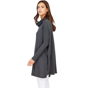 Audrey and Olive maternity Edie turtleneck sweater dress grey