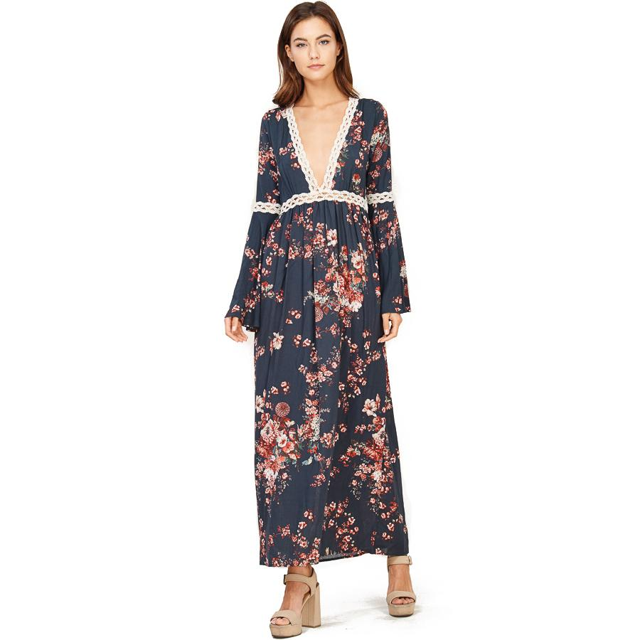 c729be82c74 ... Audrey and Olive maternity floral boho bohemian bell sleeve maxi dress  grey ...