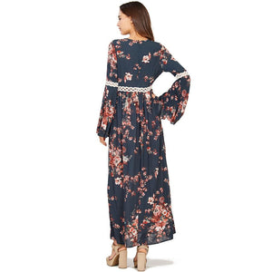 Audrey and Olive maternity floral boho bohemian bell sleeve maxi dress grey