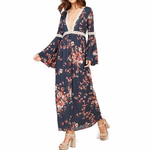 69df6a969eb Audrey and Olive maternity floral boho bohemian bell sleeve maxi dress grey