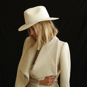 The Woods Kin the Label wool fedora panama hat packable foldable Byron cream white
