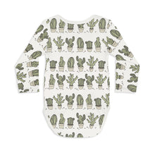 Shop The Woods Sleep No More organic GOTS baby onesie romper bodysuit long sleeve modern print cactus potted pots can't touch this white green unisex