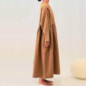 The Woods A Mente cotton ramie crew neck loose fit dress high waist almond brown beige sustainable natural