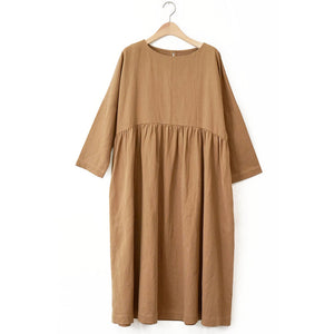 The Woods A Mente cotton ramie crew neck loose fit dress high waist almond brown beige