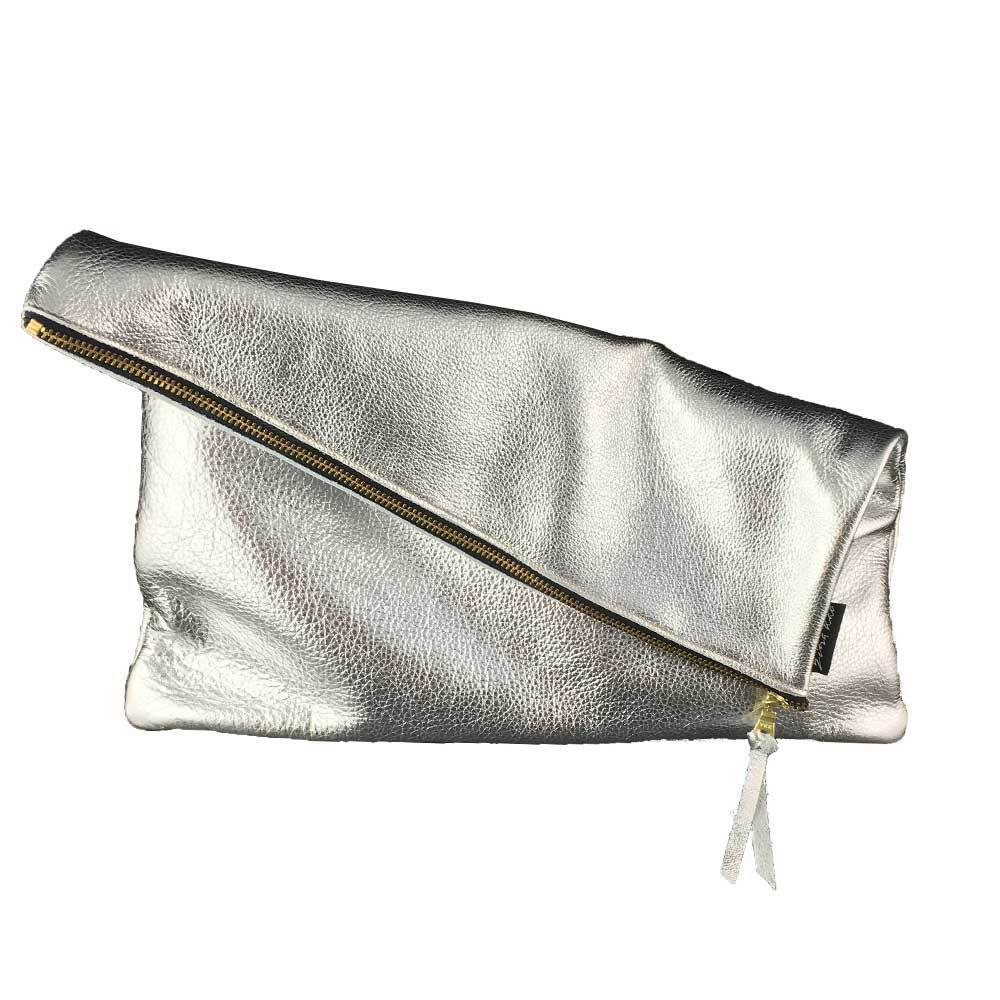 The Woods Zina Kao handmade leather clutch foldover purse Hollis metallic silver