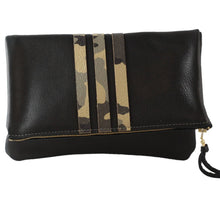 The Woods Zina Kao handmade leather clutch foldover purse Adeline metallic silver black camo