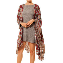 shop the woods Audrey and Olive 3+1 maternity clothes kimono graphic tribal printed open cardigan wrap sweater