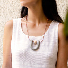 THE WOODS The Moon Designs Callisto necklace clay polymer wood bead leather granite grey