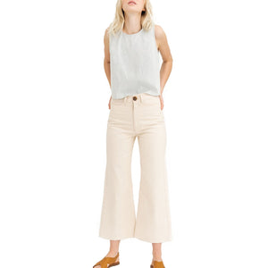 The Woods Tribe Alive high rise pant bone white beige up-cycled denim deadstock organic cotton made in guatemala ethical sustainable fashion