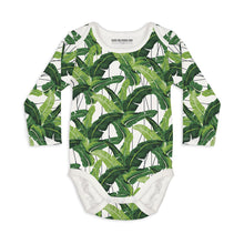 Shop The Woods Sleep No More organic GOTS baby onesie romper bodysuit long sleeve modern print palm fronds leaves i need a vacation you white green  unisex gender neutral