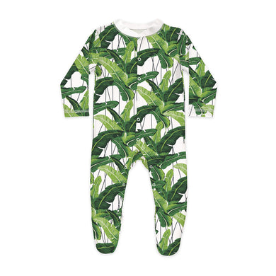 Shop The Woods Sleep No More organic GOTS baby onesie romper bodysuit sleepsuit footie long sleeve modern print palm fronds leaves i need a vacation you white green  unisex gender neutral
