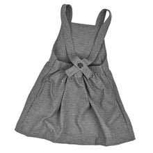 baby kids girls stretch pinafore overall dress suspender skirt grey charcoal dudes-n-dolls audrey and olive shop the woods sf