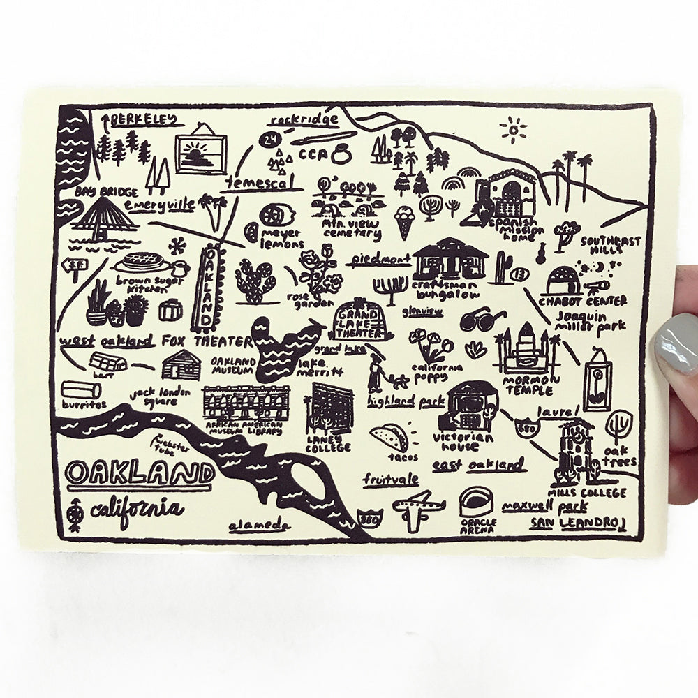 Shop The Woods People I've Loved Oakland printmaker print Oakland Map print greeting card woman maker