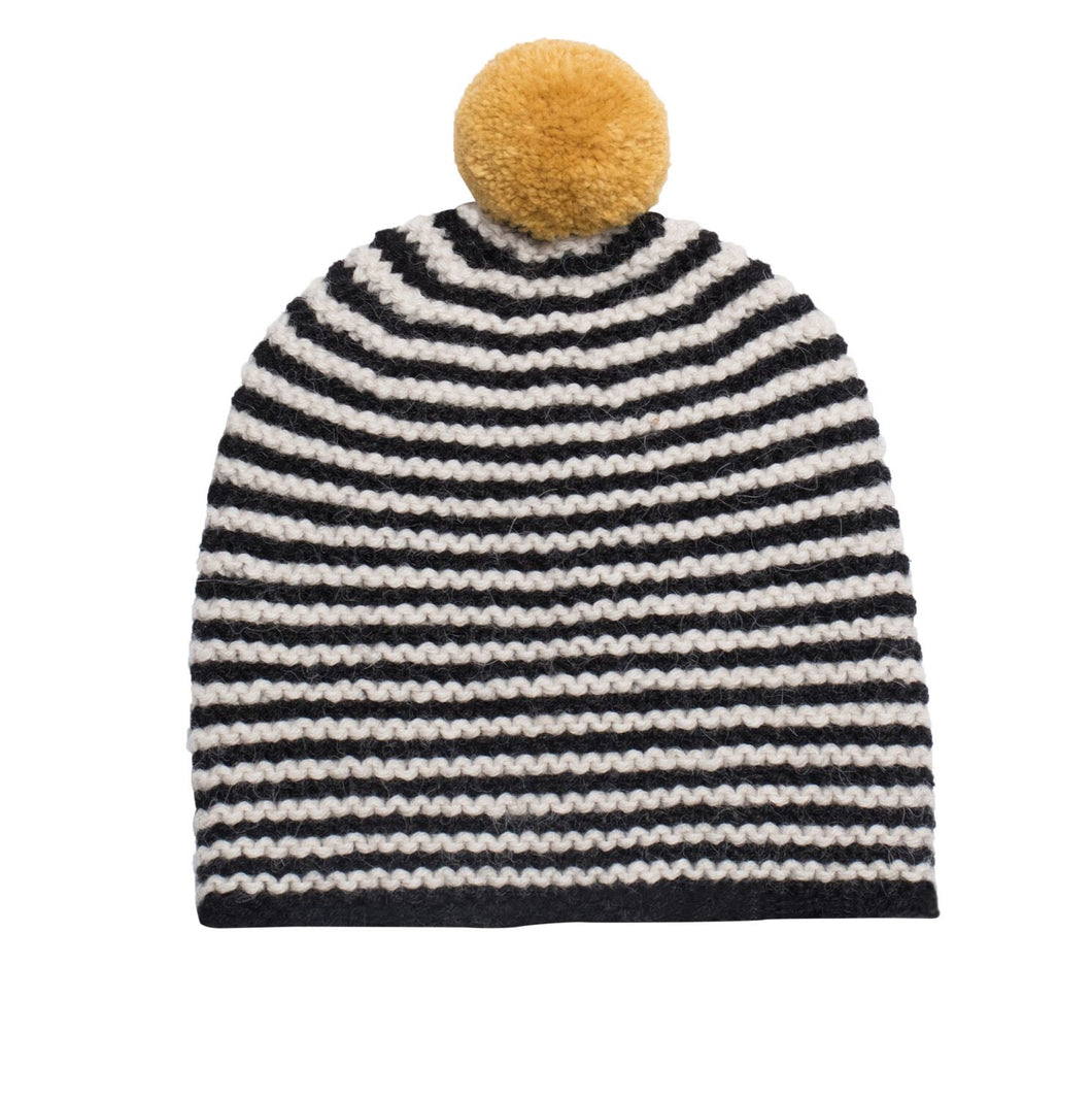 Hand-Knit Alpaca Striped Pom Hat