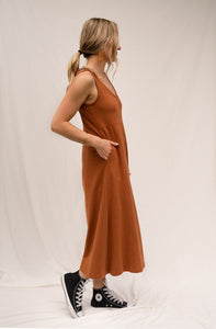 The Woods Mien Studios lakeside jumpsuit romper maternity saddle brown