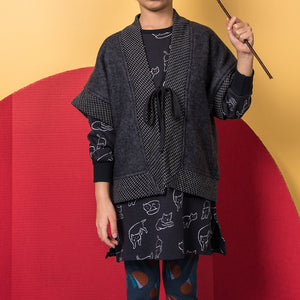 shop the woods kids girls baby wander and wonder navy dark blue kimono vest cardigan sweater japan japanese audrey and olive
