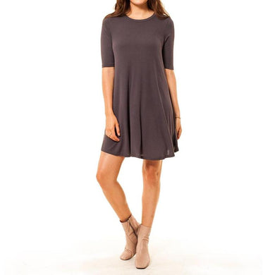 shop the woods Audrey and Olive 3+1 maternity clothes ribbed stretchy t-shirt tee dress a-line mini pink