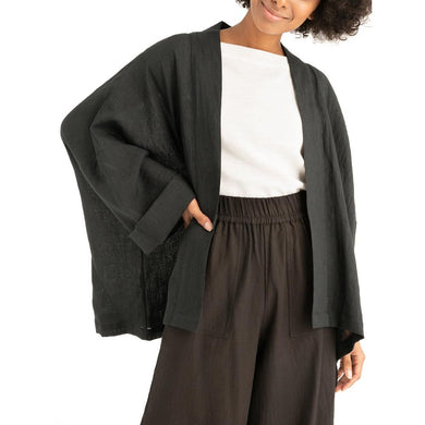 The Woods Tribe Alive kimono jacket organic linen black ink made in india ethical sustainable fashion