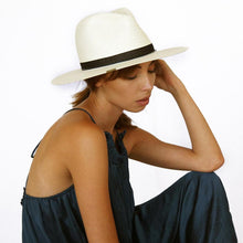 The Woods Kin the Label straw woven panama hat fedora Madison white black