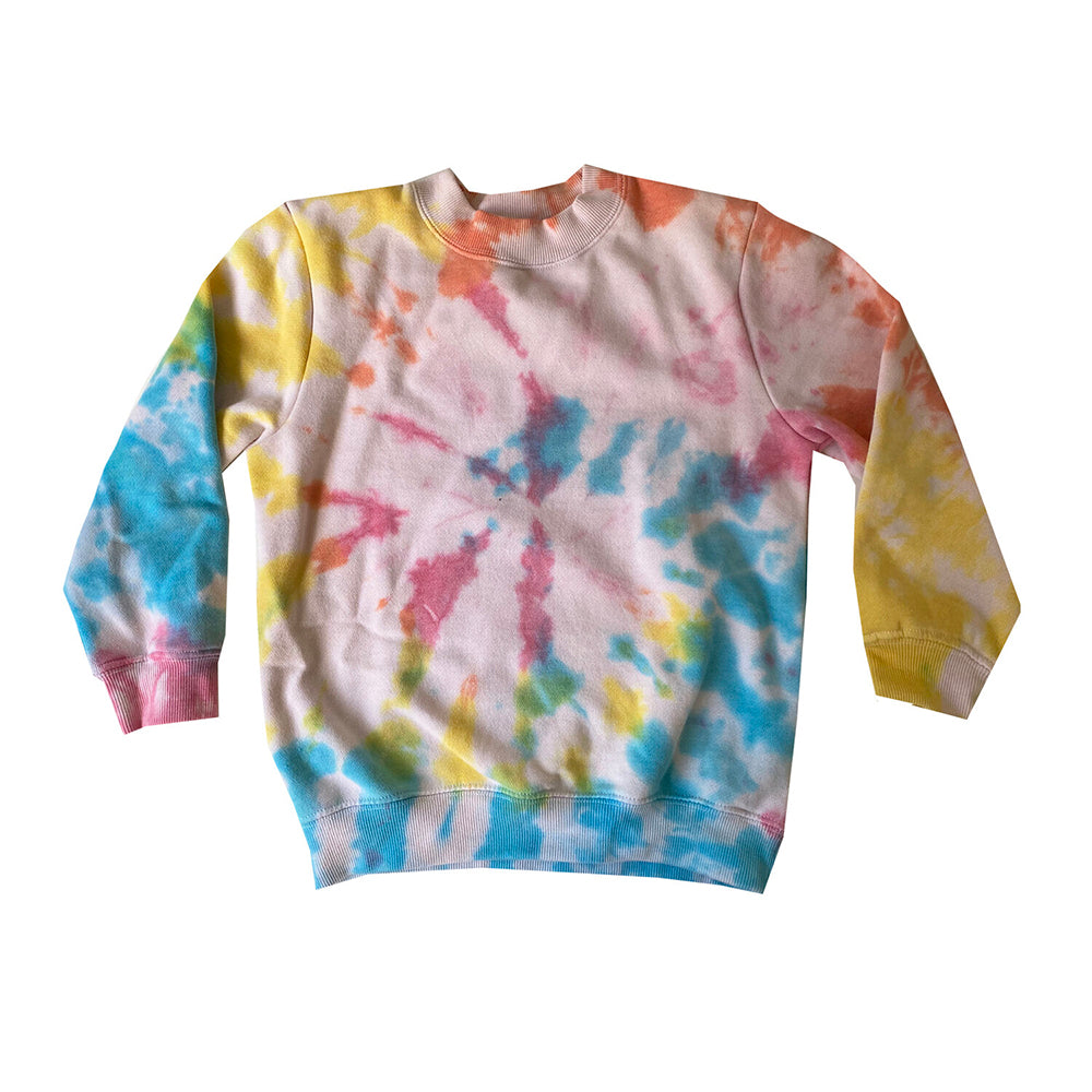 The Woods Disco Panda Kids  kids children's multi color tie-dye sweatshirt hand dyed