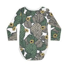 Shop The Woods Sleep No More organic GOTS baby onesie romper bodysuit long sleeve modern print cactus bloom blossom I'll never desert you white green unisex