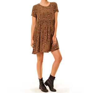 shop the woods Audrey Olive Maternity Floral empire waist mini dress olive brown 3+1 baby doll
